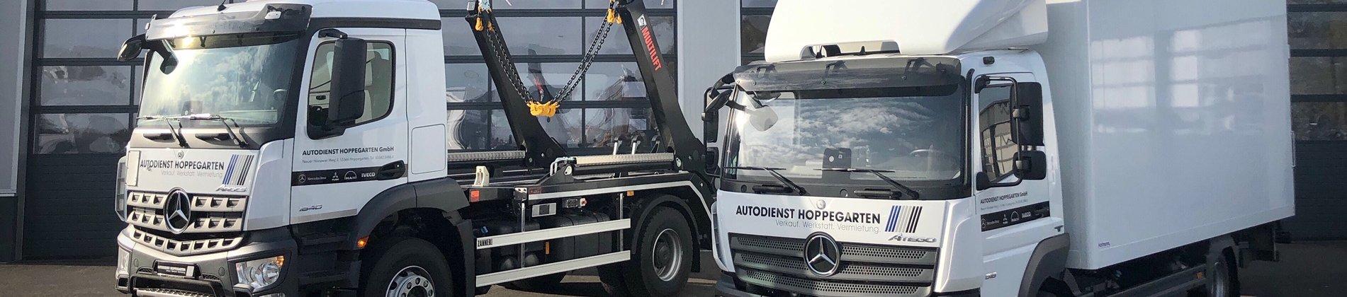 Unsere Neuzugänge im Fuhrpark und kurzfristig verfügbar: Mercedes-Benz Arocs 1840 K Multilift Absetzkipper. Mercedes-Benz Atego 818L Koffer mit Ladebordwand.